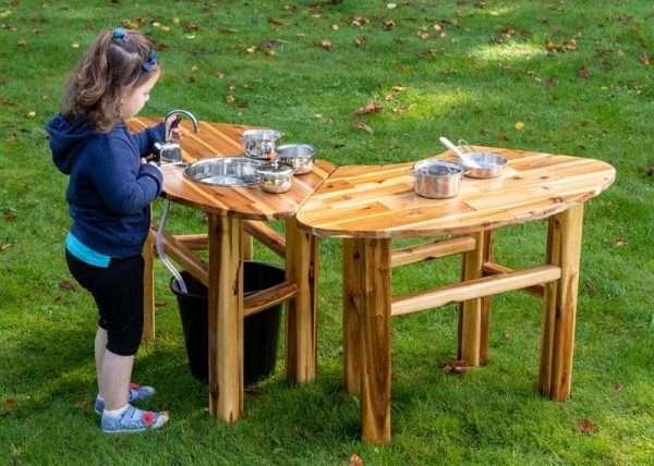 Acacia Play Curved Mud & Play Table Bundle