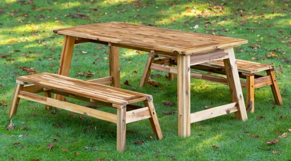 Acacia Play Picnic Table & Benches Bundle
