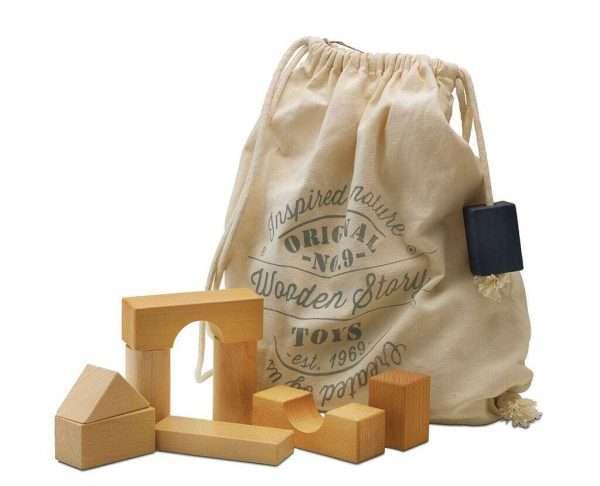 Wooden Blocks in Sack