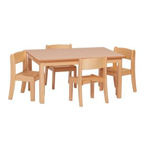 Small Rectangular Table and 4 Stacking Chairs
