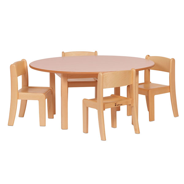 Circular Table and 4 Beech Stacking Chairs
