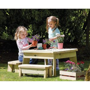 Outdoor Square Table & Bench Set