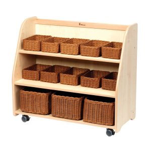 Mobile Tiered Shelf Unit with Mirror Back With Baskets